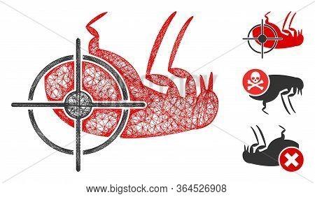 Mesh Dead Flea Polygonal Web Icon Vector Illustration. Carcass Model Is Based On Dead Flea Flat Icon