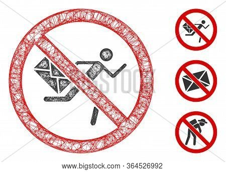 Mesh No Mail Courier Polygonal Web Icon Vector Illustration. Carcass Model Is Created From No Mail C