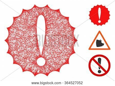 Mesh Dangerous Conditions Polygonal Web Icon Vector Illustration. Carcass Model Is Created From Dang