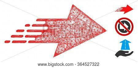 Mesh Rush Right Arrow Polygonal Web Icon Vector Illustration. Carcass Model Is Based On Rush Right A