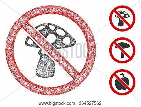 Mesh No Mushroom Polygonal Web Symbol Vector Illustration. Carcass Model Is Based On No Mushroom Fla