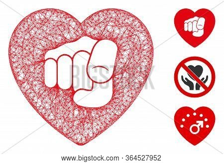Mesh Only Your Heart Polygonal Web Icon Vector Illustration. Carcass Model Is Based On Only Your Hea
