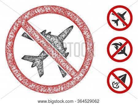 Mesh No Airplane Polygonal Web Icon Vector Illustration. Abstraction Is Created From No Airplane Fla
