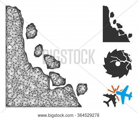 Mesh Unstable Stones Polygonal Web Icon Vector Illustration. Carcass Model Is Based On Unstable Ston