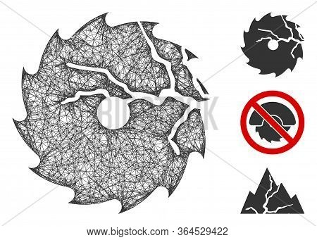 Mesh Damaged Circular Saw Polygonal Web Icon Vector Illustration. Carcass Model Is Based On Damaged