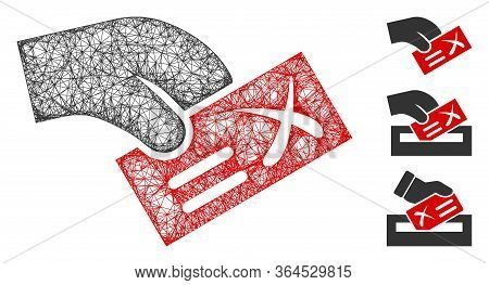 Mesh Negative Vote Polygonal Web Symbol Vector Illustration. Carcass Model Is Created From Negative