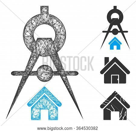 Mesh House Architecture Polygonal Web Icon Vector Illustration. Model Is Created From House Architec
