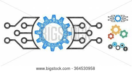 Mesh Gear Electronic Factory Polygonal Web Icon Vector Illustration. Model Is Based On Gear Electron