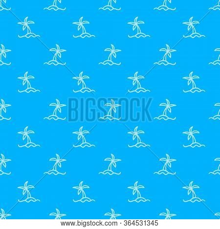 Palm Tree Summer Vacation Seamless Pattern. Single Object On Blue Background. Vector Illustration.