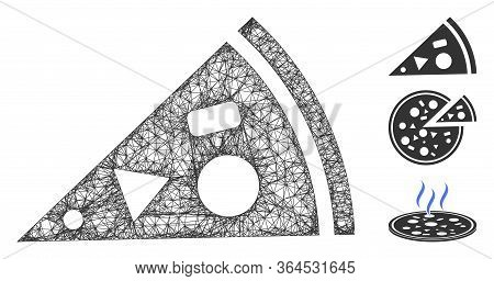 Mesh Pizza Piece Polygonal Web Icon Vector Illustration. Abstraction Is Based On Pizza Piece Flat Ic