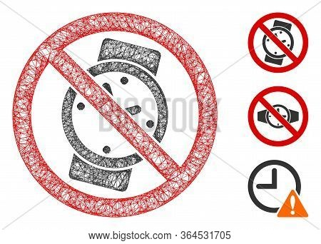 Mesh No Watches Polygonal Web Icon Vector Illustration. Model Is Based On No Watches Flat Icon. Tria