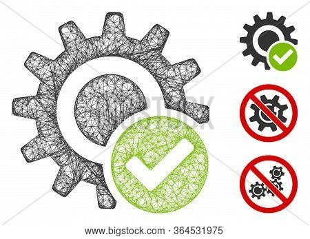Mesh Valid Settings Gear Polygonal Web Icon Vector Illustration. Carcass Model Is Based On Valid Set