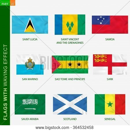 Set Of Flag With Waving Effect, National Flag With Texture. Vector Flag Of Saint Lucia, Saint Vincen