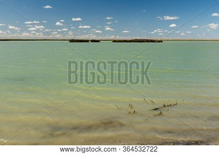 Lake In Kazakhstan. Small Unknown Lake In The Kazakhstan Steppe.