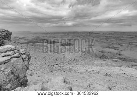 Landscape Of Makhtesh (crater) Ramon, In The Negev Desert, Southern Israel. It Is A Geological Landf