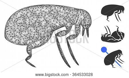 Mesh Flea Polygonal Web Icon Vector Illustration. Model Is Based On Flea Flat Icon. Triangle Network