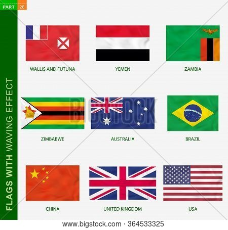 Set Of Flag With Waving Effect, National Flag With Texture. Vector Flag Of Australia, Brazil, China,