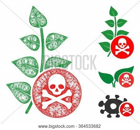 Mesh Herbicide Toxin Polygonal Web 2d Vector Illustration. Model Is Based On Herbicide Toxin Flat Ic