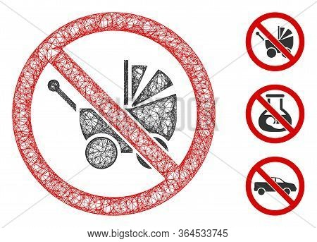 Mesh No Baby Carriage Polygonal Web 2d Vector Illustration. Model Is Based On No Baby Carriage Flat