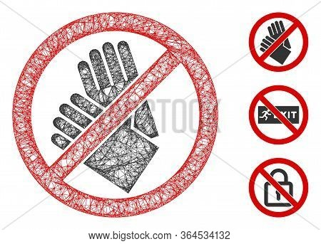 Mesh No Gloves Polygonal Web Icon Vector Illustration. Carcass Model Is Based On No Gloves Flat Icon