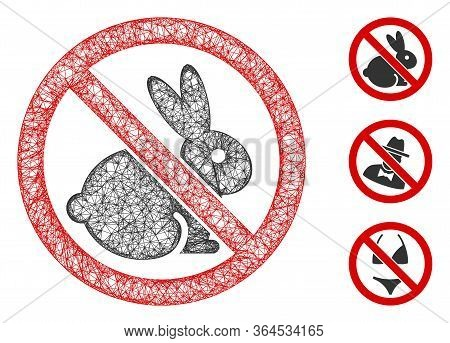 Mesh No Rabbits Polygonal Web 2d Vector Illustration. Model Is Created From No Rabbits Flat Icon. Tr