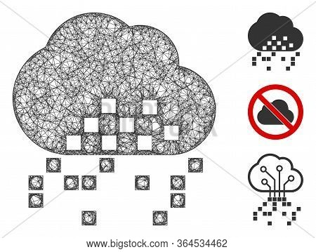 Mesh Cloud Dissipation Polygonal Web Icon Vector Illustration. Carcass Model Is Based On Cloud Dissi