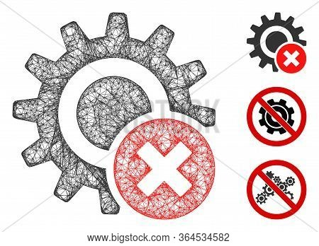 Mesh Wrong Settings Gear Polygonal Web 2d Vector Illustration. Model Is Based On Wrong Settings Gear