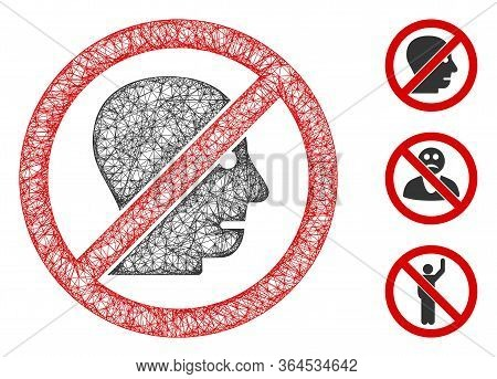 Mesh No Angry Person Polygonal Web Icon Vector Illustration. Model Is Based On No Angry Person Flat