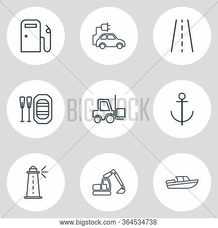 Illustration Of 9 Carrying Icons Line Style. Editable Set Of Lighthouse, Digger, Gas Station And Oth