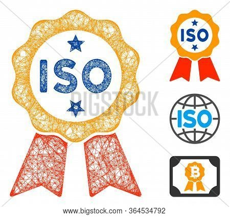 Mesh Iso Certified Polygonal Web 2d Vector Illustration. Carcass Model Is Based On Iso Certified Fla