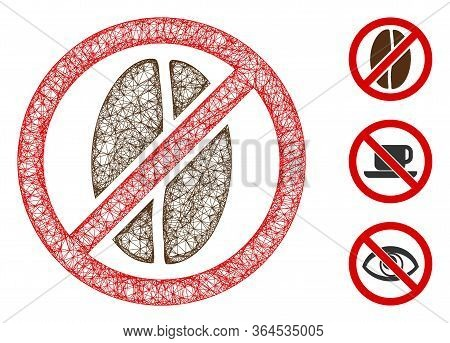 Mesh No Caffeine Polygonal Web Icon Vector Illustration. Carcass Model Is Created From No Caffeine F