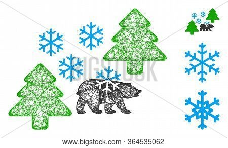 Mesh Frost Siberia Polygonal Web Icon Vector Illustration. Model Is Created From Frost Siberia Flat