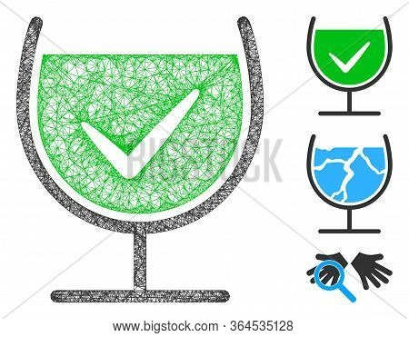 Mesh True Drink Glass Polygonal Web Icon Vector Illustration. Model Is Created From True Drink Glass