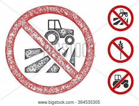 Mesh No Agriculture Field Polygonal Web Icon Vector Illustration. Model Is Based On No Agriculture F