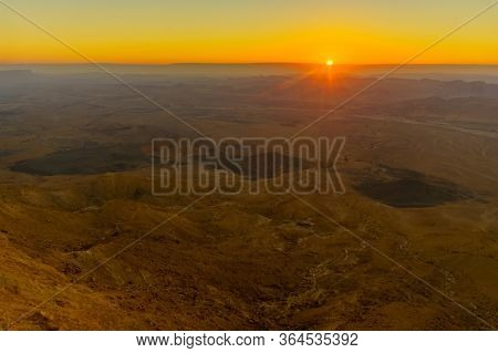 Sunrise View Of Makhtesh (crater) Ramon, In The Negev Desert, Southern Israel. It Is A Geological La