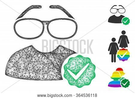 Mesh For Clevers Polygonal Web Icon Vector Illustration. Carcass Model Is Based On For Clevers Flat