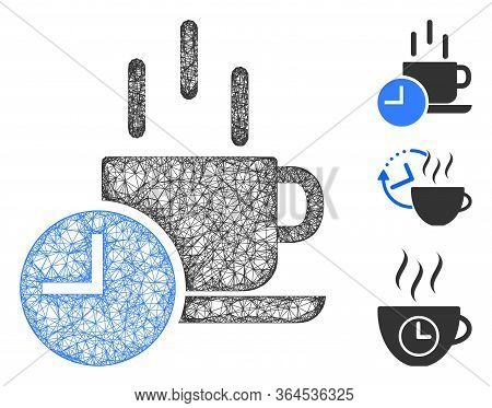 Mesh Coffee Break Polygonal Web 2d Vector Illustration. Carcass Model Is Created From Coffee Break F