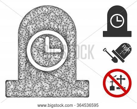 Mesh Expired Grave Polygonal Web Icon Vector Illustration. Carcass Model Is Based On Expired Grave F