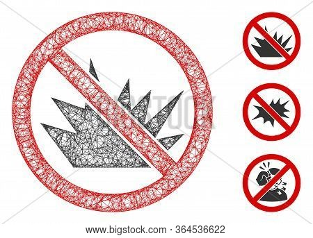 Mesh No Bang Polygonal Web Icon Vector Illustration. Abstraction Is Based On No Bang Flat Icon. Tria