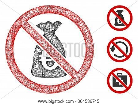 Mesh No Euro Funds Polygonal Web Icon Vector Illustration. Carcass Model Is Based On No Euro Funds F
