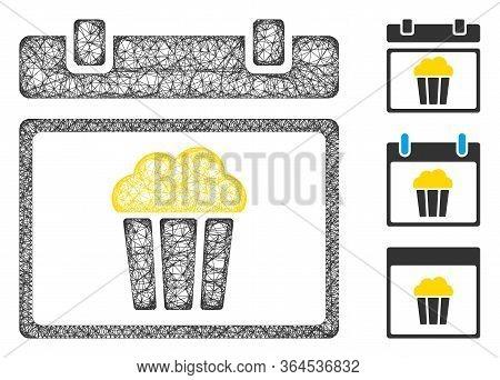 Mesh National Popcorn Day Polygonal Web Symbol Vector Illustration. Carcass Model Is Based On Nation