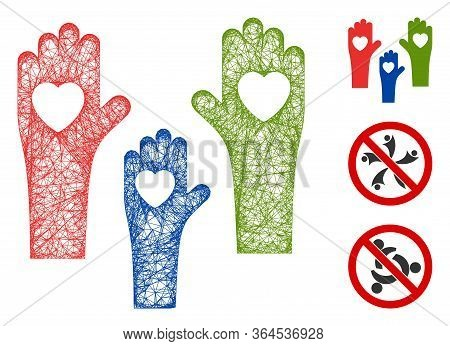 Mesh Tolerance Hands Polygonal Web Icon Vector Illustration. Carcass Model Is Created From Tolerance