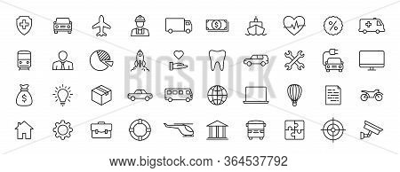 Set Of 40 Insurance Web Icons In Line Style. Business, Health, Policy, Tornado, Flood, Help. Vector