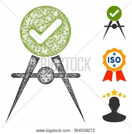 Mesh Quality Control Polygonal Web Icon Vector Illustration. Model Is Based On Quality Control Flat