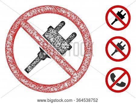 Mesh No Electric Plug Polygonal Web Symbol Vector Illustration. Carcass Model Is Based On No Electri