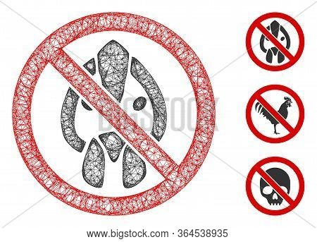 Mesh No Chicken Head Polygonal Web Symbol Vector Illustration. Abstraction Is Based On No Chicken He