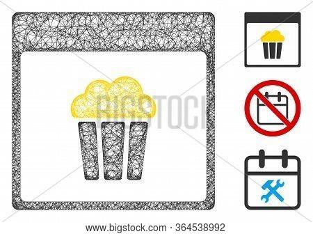 Mesh Popcorn Calendar Page Polygonal Web Symbol Vector Illustration. Carcass Model Is Based On Popco