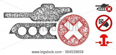 Mesh Stop Tanks Polygonal Web 2d Vector Illustration. Model Is Based On Stop Tanks Flat Icon. Triang