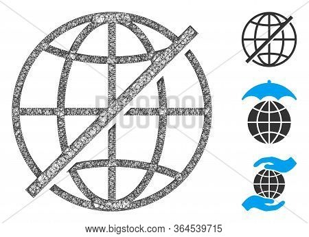 Mesh Not Global Polygonal Web Icon Vector Illustration. Carcass Model Is Created From Not Global Fla