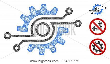 Mesh Electronic Gear Polygonal Web Icon Vector Illustration. Carcass Model Is Based On Electronic Ge